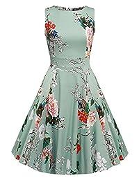 OWIN Women's Vintage 1950's Floral Spring Garden Picnic Dress Party Cocktail Dress