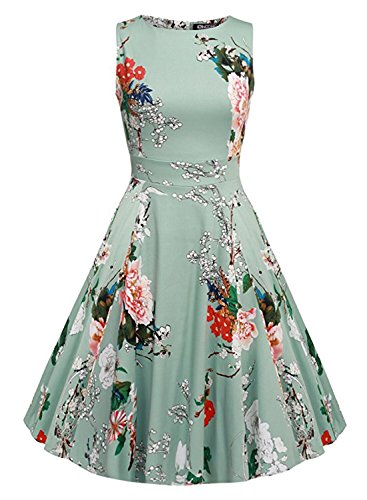[OWIN Women's Vintage 1950's Floral Spring Garden Party Dress Party Cocktail Dress (M, Ice Blue)] (1950 Dress)