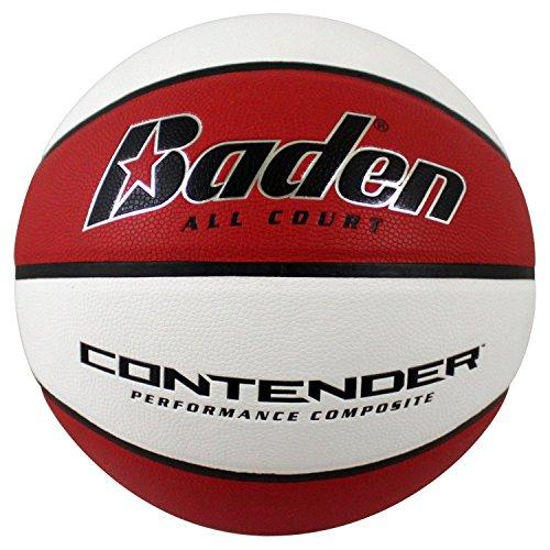 Baden Contender - Balón de Baloncesto para Interiores y Exteriores, Rojo/Blanco, 72.3 cm