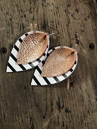 (Genuine Leather Earrings - Rose gold with Black and white stripe)