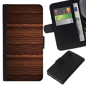 KLONGSHOP // Tirón de la caja Cartera de cuero con ranuras para tarjetas - Diseño del papel pintado imitación madera de Brown - LG Nexus 5 D820 D821 //