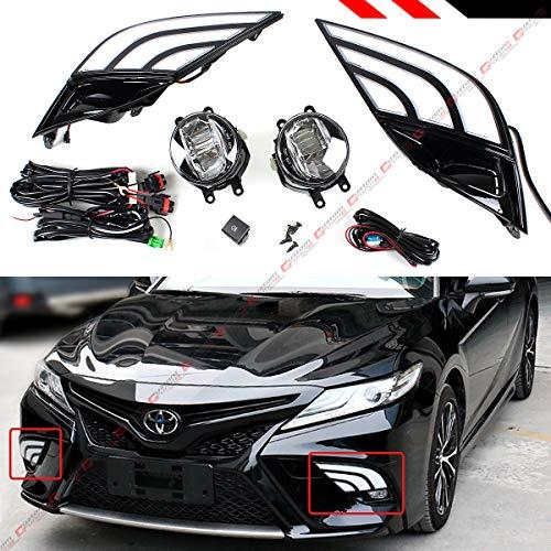 Fits for 2018 2019 Toyota Camry SE XSE Bumper Fog Light Bezel Cover W/White & Amber LED DRL + Clear Lens LED Fof Lamp Kit + Square - Light Kit Fog Amber