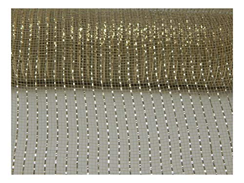 Floral Supply Online - 10 inch x 30 feet Metallic Deco Poly Mesh Ribbon. The Exclusive Metallic Mesh with A Unique Touch of Color and Sparkle. (Light Gold) (Decorating Christmas With Mesh Tree)