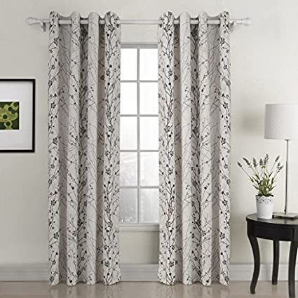 Chadmade Country Style Plum Blossom Polyester 50Wx63L Inch (1 Panel) Blackout Lined Curtain Drape Silver Nickle Grommet SOFITEL Collection For Bedroom | Living Room | Club | Restaurant 5063YL1108