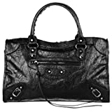 AMA Women Leather Studed Tassel Motorcycle Bags Biker Bag Shoulder Bag 38cm Medium Size 7 Colors (Black)
