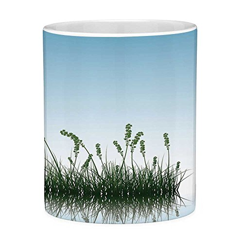 Funny Coffee Mug with Quote Landscape 11 Ounces Funny Coffee Mug Scenery of a Lake Bushes Grass with Reflection Floral Art Image Print Light Blue Jade Green