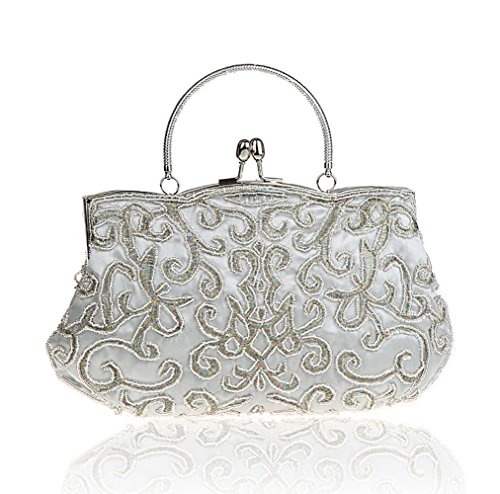 Dress Clutch Bag Evening Dinner For Retro Silver Purse Handmade Shoulder Crossbody Women MIMI Handbag KING w1aFqF