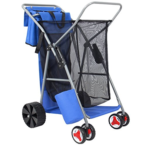 Best Choice Products Deluxe Folding Utility Beach Cart w/ Removable Utility Bag, All-Terrain Rear Wheels - ()