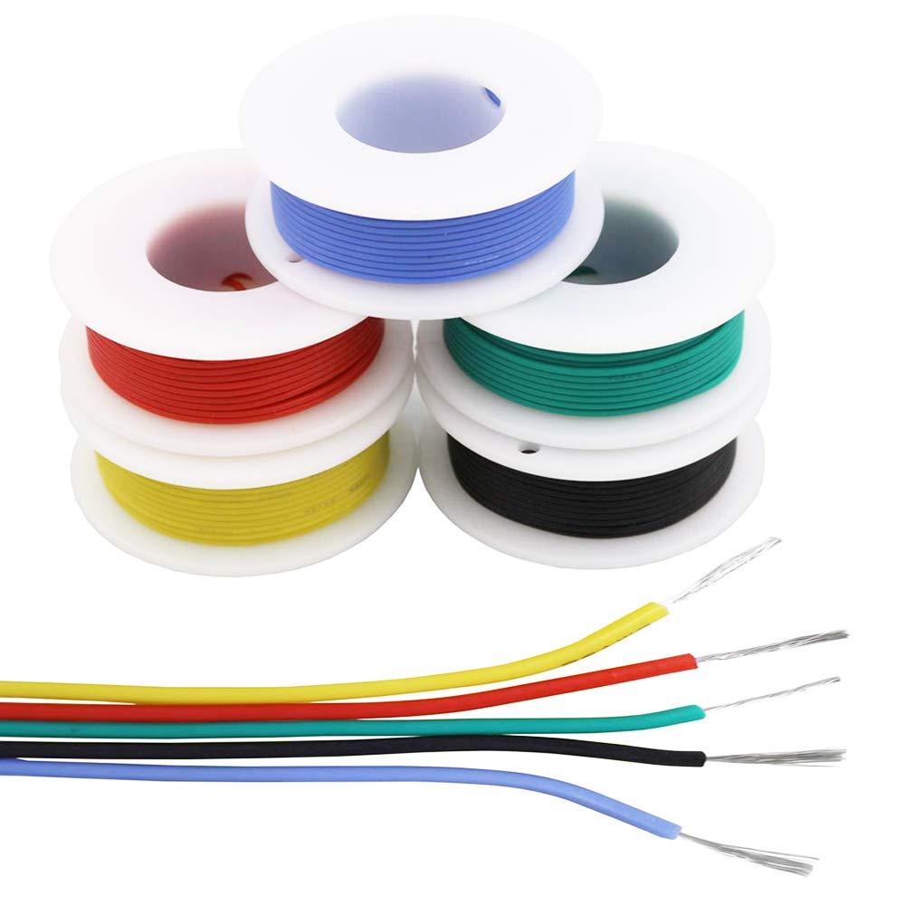 0,8 mm sans plomb colophane Sn 99,3 Cu 0,7 pour DIY PCB Arduino Raspberry Pi NorthPada Kit de fil /électronique 0,8 mm 2 fils en silicone tress/é fil cuivre /étam/é 18 AWG 5 couleur