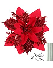 jojofuny 12Pcs Christmas Glitter Poinsettia Flowers, Christmas Tree Flower Decorations Artificial Flowers with Stems and Clips for Party Wedding Wreath