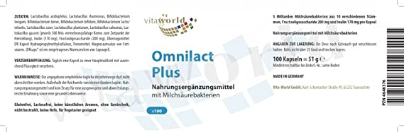 Vita world omnilact plus 100 capsules lactobacillus bifidobacterium vita world omnilact plus 100 capsules lactobacillus bifidobacterium probiotic made in germany amazon health personal care ccuart Image collections