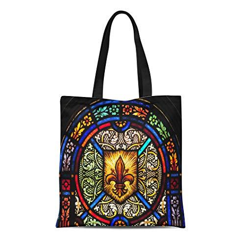 Light Blue Fleur De Lis - Semtomn Canvas Tote Bag Blue Stained Glass Window Fleur De Lis Symbol Green Durable Reusable Shopping Shoulder Grocery Bag