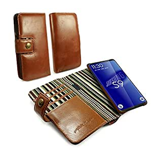 Alston Craig Genuine Vintage Leather RFID Magnetic Wallet Case Cover for Samsung Galaxy S9 - Brown