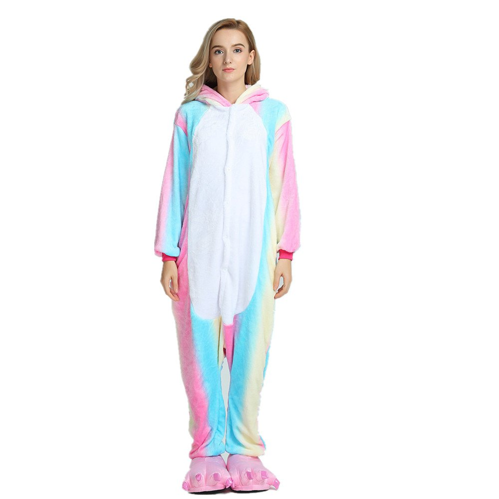 Colorfulworld Kigurumi Pijamas Unicorn Cosplay Adulto Animal Pyjamas Trajes de Noche Halloween (M, Arco iris2)