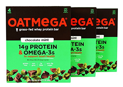 Oatmega - Grass-Fed Whey Protein Bars, 4 Count (Pack of 3) (Chocolate Mint)