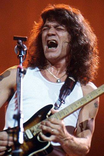 Eddie Van Halen Stunning Color Poster With Guitar Singing Concert