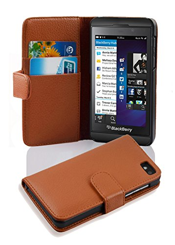 (Cadorabo Case Works with BlackBerry Z10 in Saddle Brown (Design Book Structure) - with 2 Card Slots - Wallet Case Etui Cover Pouch PU Leather Flip)