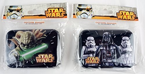Collectors Embossed Tin (Star Wars Cotton Swabs In Reusable Embossed Tin - Hinged Lid (2 Pack - Yoda & Darth Vader ))