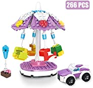 BRICK STORY Girls Friends Amusement Park Carousel Building Kit with 2 Mini People and an Open Car Building Bri