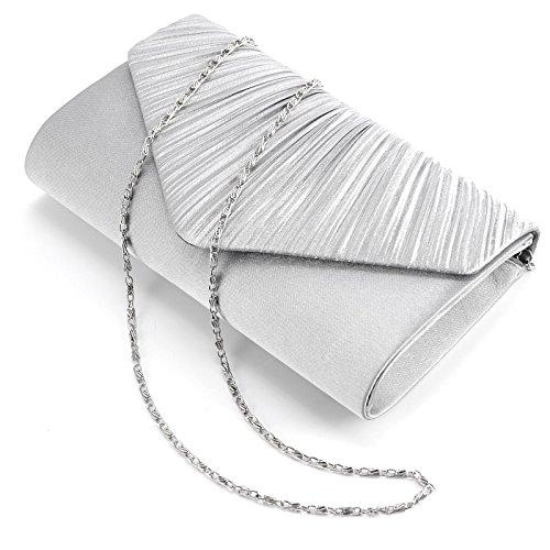 ¡Anladia! Bolso de Fiesta Boda de Mujer Bolsos de Mano Cartera de Mano Tipo Clutch Raso Plisado Plata