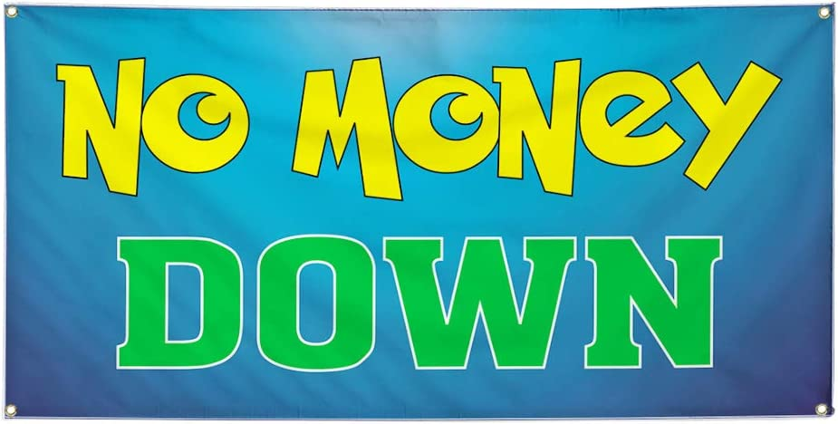 4 Grommets Set of 2 Multiple Sizes Available Vinyl Banner Sign No Money Down Business No Money Down Marketing Advertising Aqua-Blue 28inx70in