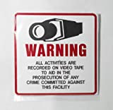 "HTS Commercial Grade Outdoor/indoor Security Surveillance Cctv Video Warning Decal-deterrence Security , Safety 4"" X 4"" (2-pack)"