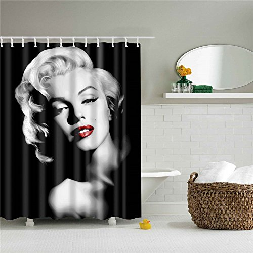 Jameswish 3D Marilyn Monroe Printed Shower Curtain Waterproof Fabric Microsoft Fiber Grommet Curtains for Bathroom NO Rod 72x72inches ()