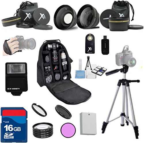 Al's Variety Premium Essential Kit For Canon Rebel T5 Camera with Canon 18-55mm Lens + Al's Variety Premium Camera Backpack + 3Pc Filter kit + 4pc Macro Kit + Wide Angle Aux. Lens + Telephoto Aux. Lens + 50 inch Professional Tripod + Camera Wrist Grip + Digital Flash + 16GB Bandwidth Memory Card + Lion Battery For Canon T5 + Als Variety Starter Kit + 21pc Bundle