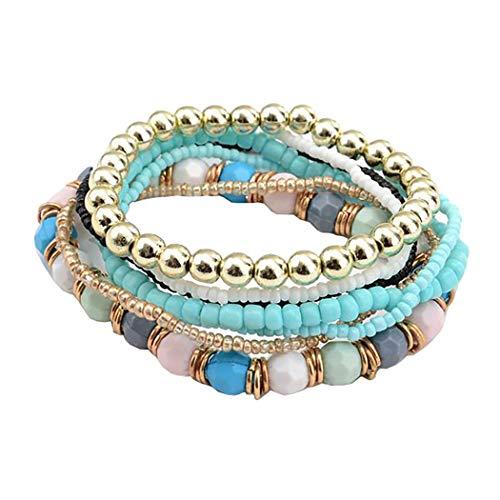 Nurbo 1 Set 7Pcs Boho Wholesale Multilayer Acrylic Beads Beach Bracelet ( Sky Blue )