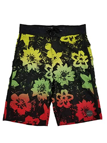 Matix Boys Black Tropical Hawaiian Surf Shorts Swim Trunks Board Shorts XL18/20 ()