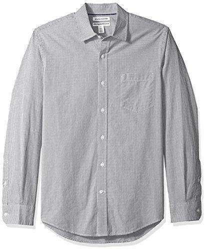 Amazon Essentials Men's Slim-Fit Long-Sleeve Casual Poplin Shirt, Grey Mini-Gingham, X-Large