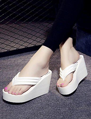 9 cm hoch mit dem Wort Pantoffeln Weibliche dicke Anti-Erdrutsch Pantoffeln Modische Sommer coole Pantoffeln ( Farbe : B , größe : EU35/UK3/CN34 ) B