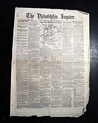 KENTUCKY MAP Perryville Battle & Pennsylvania Invasion 1862 Civil War Newspaper PHILADELPHIA INQUIRER, Oct. 14, 1862