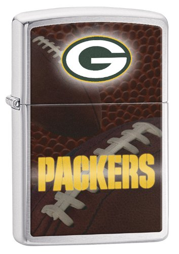 Zippo Pocket Lighter NFL Green Bay Packers Brushed Chrome Pocket Lighter