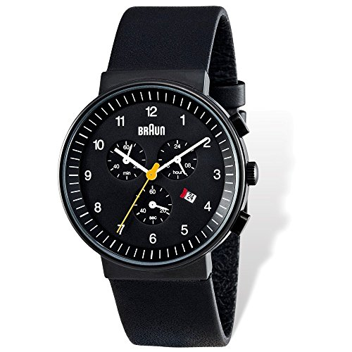 Mens Braun Black Dial Black Leather Chronograph Watch