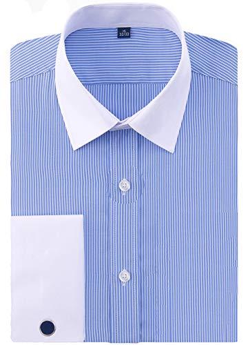 J.VER Men's French Cuff Dress Shirts Regular Fit Long Sleeve Spead Collar Metal Cufflink - Color:Stripe FS10 Blue, Size: 15