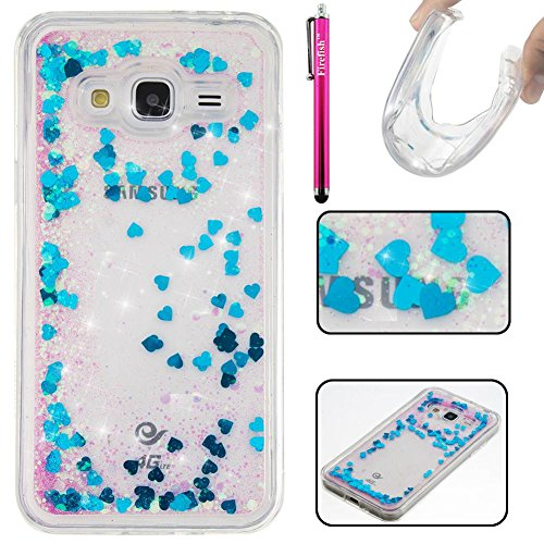 Galaxy J3 / J310 Case, Firefish Glitter Liquid Cover Slim Soft TPU Rubber Silicone Case Impact Resistant Durable Protective Case for Samsung Galaxy J3 / J310 -Blue