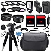 Advanced Camcorder Video Camera Accessory Holiday Package Kit includes (2) High Capacity BP827 BP-827 Replacement Battery with Car/International Charger + Deluxe Carrying Travel Case + Digital LED Video Photo Light + (2) 32GB Memory Card + 58mm 0.43x High Definition AF Wide Angle Lens + 2.2x AF Telephoto Lens + Multi Coated HD 3 Pc. Digital Filter Set + More for Canon VIXIA LEGRIA HF G10 G20 G30 S10 S11 S20 S21 S30 S100 S200 HFG10 HFG20 HFG30 HFS10 HFS11 HFS20 HFS21 HFS30 HFS100 HFS200 XA10