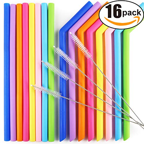 AROIC Reusable Silicone Drinking Straws, Extra Long Flexible Straws with Cleaning Brushes for 30 oz Tumblers RTIC/Yeti - 16 Pieces - Bpa-Free - No Rubber Tast