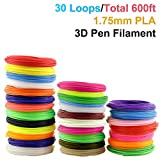 3D Pen Filament Refills, PACKGOUT 1.75 mm Glowing in the Dark Color PLA Filament, 30 Colors 600 Feet (No Odor and Fumes)