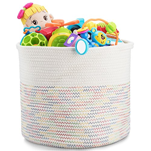 Storage Basket - Cotton Rope Storage Baskets Foldable with Handles, 15