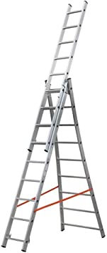 3-piezas de aluminio de usos múltiples y Combi escalera de 3 x 9 peldaños: Amazon.es: Bricolaje y herramientas