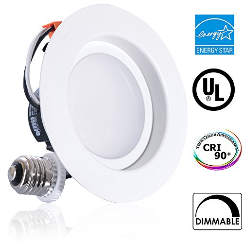 Sunco Lighting 11W 4-inch ENERGY STAR UL-listed Dimmable LED Recessed Lighting Fixture Retrofit Downlight-4000K Cool White LED Ceiling Light --650LM, Title 24, ROHS, 5 Year Warranty