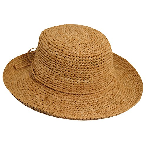 Scala Women's Crocheted Raffia Hat with Drawstring, Tea, One Size ()
