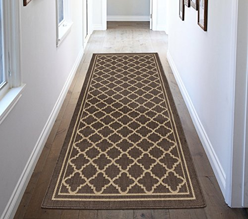 Patio Rug Natural (Ottomanson Jardin Collection Natural Moroccan Trellis Design Indoor/Outdoor Jute Backing Runner Rv Patio Mat Rug, 2'7