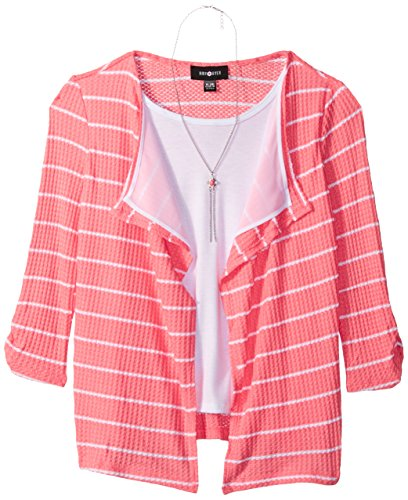 Amy Byer Big Girls' 3/4 Sleeve Stripe Thermal Top with Necklace, Coral, M