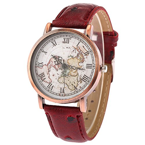 TRENTON Women's Vintage Style World Map Roman Numbers Quartz Casual Cuff Wrist Watch - Style World Map