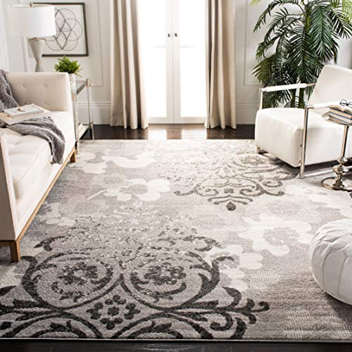 Living Provincial Room - Safavieh Adirondack Collection ADR114B Silver and Ivory Contemporary Chic Damask Area Rug (8' x 10')