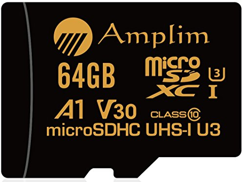 Amplim 64GB Micro SD SDXC V30 A1 Memory Card Plus Adapter Pack (Class 10 U3 UHS-I MicroSD XC Extreme Pro) 64 GB Ultra High Speed 667X 100MB/s UHS-1 TF MicroSDXC 4K Flash - Cell Phone, Drone, Camera by Amplim (Image #1)