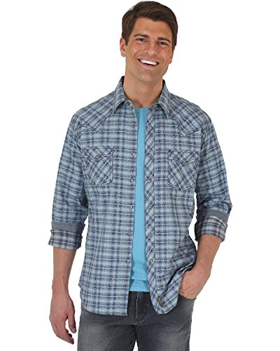 Wrangler Men's Retro Plaid with Overprint Premium Long Sleeve Snap Shirt Big and Blue XX-Large - Wrangler Blue Shirt Twill